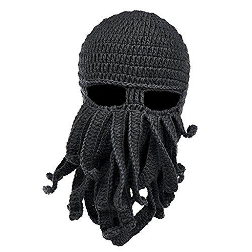 Lustige Bartmütze Stickmütze mit Bart Maske Krake Kostüm - Dunkelgrau