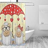 MONTOJ Schaf & Regenschirm, Heimdekoration, Duschvorhang, Stoff, Badezimmer-Dekorationsset mit Haken, 177,8 cm, langlebig & superwasserdicht, 1 Panel, 183 x 183 cm