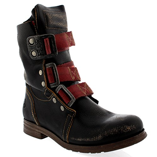 FLY London Womens Stif Leather Pull On Military Biker Buckle Ankle Boots - Black - 9