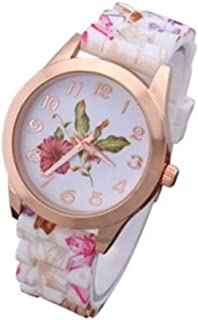 Women Dress Watch Silicone Printed Wine Red Silicone Printed Causal Quartz Wristwatches for girl