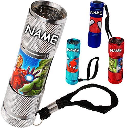 alles-meine.de GmbH 2 Stück _ Taschenlampen LED - Avengers & Spider-Man - inkl. Name - aus Metall - Mini Lampe / Schlüsselanhänger - 9 Fach LEDlicht - Licht Auto Kindertaschenlam..