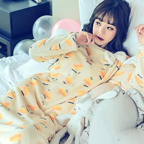 JFCDB Albornoz, Camisón de Franela de Manga Larga Cute Sky Blue Coral Fleece Lady Night Dress Homewear Soft Winter Casual Dressing Night Dress, Style H, M