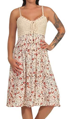 Hailys Damen Viskose Träger-Kleid Kana mit Häkelbesatz Blumen-Druck, Knielang Offwhite L