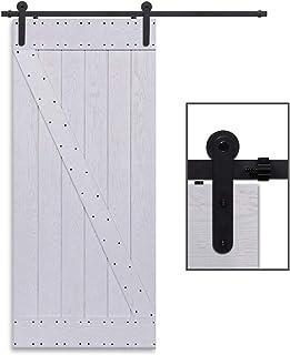 comprar comparacion CCJH 6FT-183cm Retro Corredizo de Madera Granero Puerta Hardware Kit Armario Corredizo de la Riel Colgadores de Rueda para...
