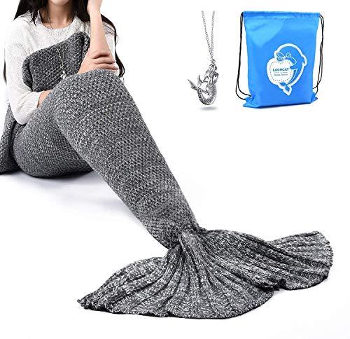 Product Image of the LAGHCAT Mermaid Tail Blanket Crochet Mermaid Blanket for Adult, Soft All Seasons...