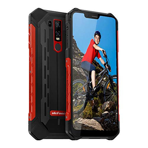 Ulefone Armor 6E Rugged Phones Unlocked, 4G Unlocked Cell Phones Rugged Dual Sim 4G 6.2' FHD Android 9.0 Helio P70,4GB+64GB(TF Up to 256GB),NFC+ Face ID+ UV Senso+GPS Red