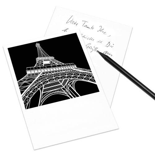 COGNOSCO Postkarte Stadtgrafiken im Polaroid-Look - Motiv: Paris, Eiffelturm