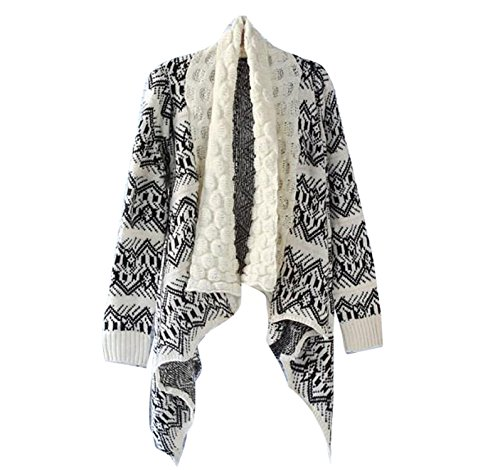 Gaorui Stilvolle Azteken-Strickjacke für Damen im Bohemian-Stil, Strick-Cape / Poncho mit Schottenkaro, offene Strickjacke, lockerer Pullover