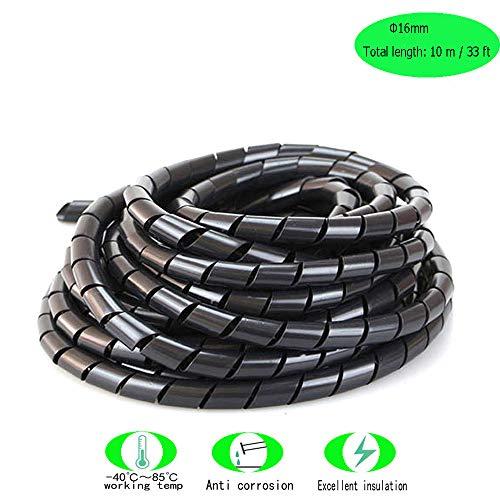 Her Kindness Raccogli cavi spiralato Cable Tidy Hoses Tubo a Spirale Diametro 16 mm (Lunghezza totale 10m) Nero
