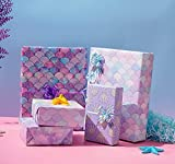 Birthday Wrapping Paper for Girls Women Kids Baby Shower Shining Mermaid Scale Scallop Pink Galaxy 4 Style Gift Wrap Paper for Graduation Wedding Anniversary 12 Folded Sheets 20.5 * 28.7 inch