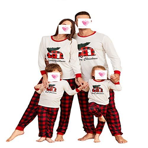 Conjunto de pijamas de Navidad para familia a juego con estampado de letras de Feliz Navidad+clásico traje de Navidad a cuadros para niños y adultos