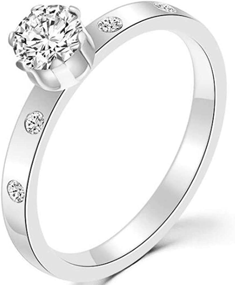 Jude Jewelers 2mm Stainless Steel Five Stones Stackable Solitaire Style Wedding Engagement Ring