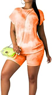FSSE Womens Casual Short Sleeve Crewneck T-Shirt & Shorts 2 Pieces Set Tracksuits Outfit