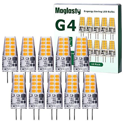 G4 LED Lampen 3W, LED Birnen Warmweiß 3000K Ersetzt 30W Halogenlampen, 300LM G4 Led Glühbirnen Nicht Dimmbar Kein Flackern, 12V AC/DC,10er Pack
