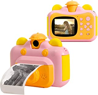 Instant Print Camera for Kids with Print Paper 2.4 Inch Screen 12MP Photo 1080p Video Recording Rechargeable Children Camc...
