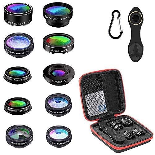 Haolgo - Kit de Lente de teléfono móvil 10 en 1, Lente de Ojo de pez con Clip para Smartphone, Lente de cámara para iPhone, Samsung, Huawei, HTC, LG, portátil, iPad y Android