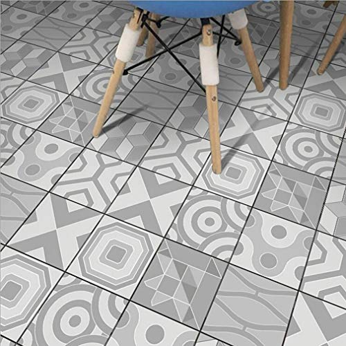 JY ART Blanc grisâtre Stickers carrelage Décoration autocollante,- Facile à appliquer Adhésif Sticker Feuille pour Carreaux Salle de Bain et Crédence Cuisine | 20cmx5m ZT011, 20cm*5m