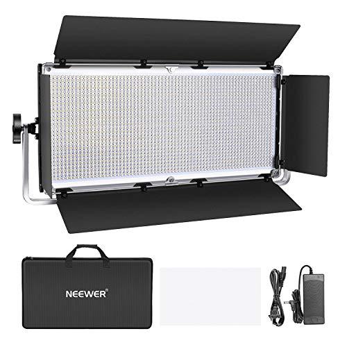 Neewer Regulable 1904 Fotografía Luz Video LED Iluminación LED con Marco Metal Barndoor 3200K-5600K Adaptador DC Opciones Energía Batería para Estudio de Retratos Estudio (Batería No Incluida)