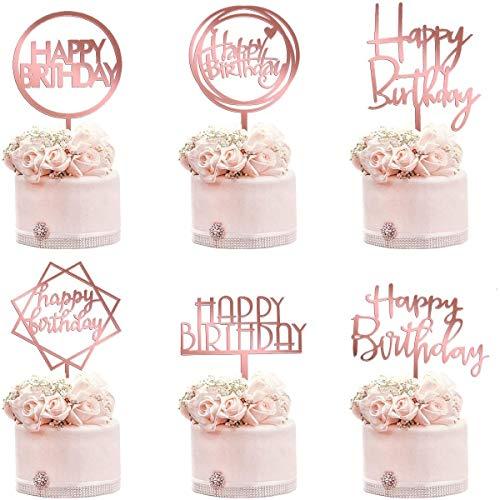 tarumedo Roségold Cake Topper Set, 6 Stück Doppelseitiger Acrylglitter Roségold Glitter Letters Happy Birthday Kuchendekoration für Kinder Erwachsene