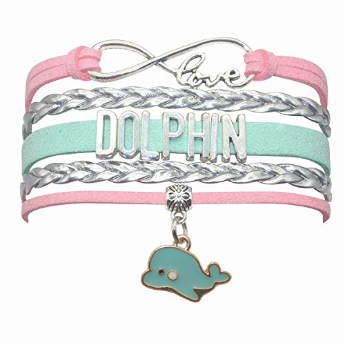 HCChanshi Dolphin Bracelet Jewelry Infinity Love Cute Dolphin Jewelry Dolphin Gifts for Women, Girls, Men, Boys, Dolphin Lovers Gifts (Pink,Silver and Mint Green)