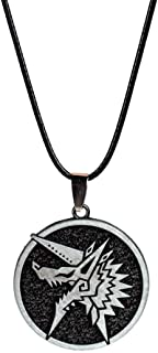Monster Hunter World Iceborne MHW Immortal Thunderlord Zinogre Icon Novelty Necklace Game Collection Backpack Pendant Party Supplies Gifts