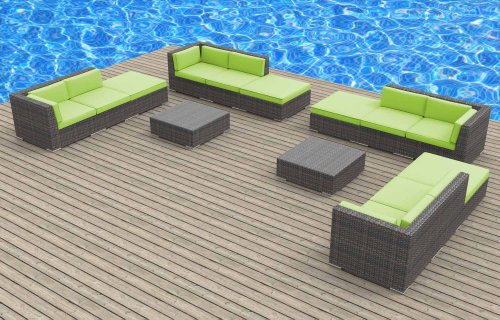 Hot Sale Urban Furnishing - KEY WEST 14pc Modern Outdoor Backyard Wicker Patio Furniture Sofa Sectional Couch Set - Lime Green