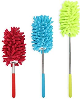 Libobo 3 Set Microfiber Duster Dusting Brush with Extendable Pole Washable Duster Head