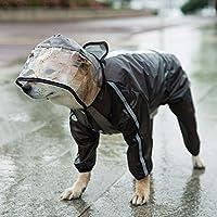 Home+ ペットレインコート 子犬小中身と大きな犬の服のための反射のペット猫の犬のレインコートの柔らかい通気性の雨コート防水ジャケット 犬レインコート#h (Color : Black, Size : 4XL)