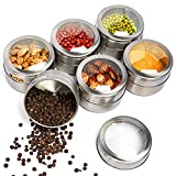 Magnetic Spice Tins Stainless Steel Spice Tins with Label, Set of 6 Spice Storage Container Spice Jar with Shaker Lid Magnetic Kitchen Organization