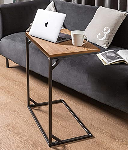 Rectangle C Shaped End Snack Side Table Slide Under Couch with Wood Top for Sofa Coffee Laptop Living Room Bedroom Small Space, 23.5'X13.5'X26.5