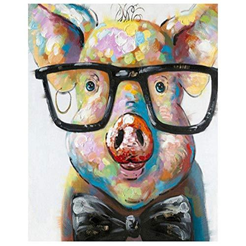 GenericBrands Pintura por Números para Adultos y Niños, Cerdo con Gafas Pintar con Números por Números Decoración del Hogar, Sin Marco, 40 x 50 cm Sin Marco