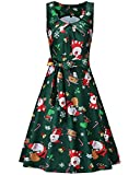 KILIG Women's Christmas Sleeveless Print Pleated Skater Party Cocktail Dresses with Pockets