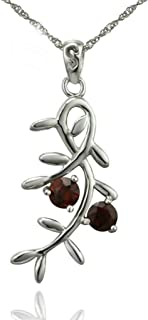 Daesar Sterling Silver Women's Necklace Branch with Rhinestones CZ Leaf Red Pendant Necklace for Womens
