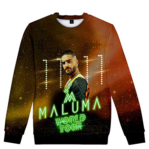 Gjhjhgeow Maluma Pullover Tops Pareja otoño del Resorte de la Camiseta de Cuello Redondo suéter Impresión Digital Personalizar 3D Unisex (Color : A08, Size : Height-155cm(Tag XS))