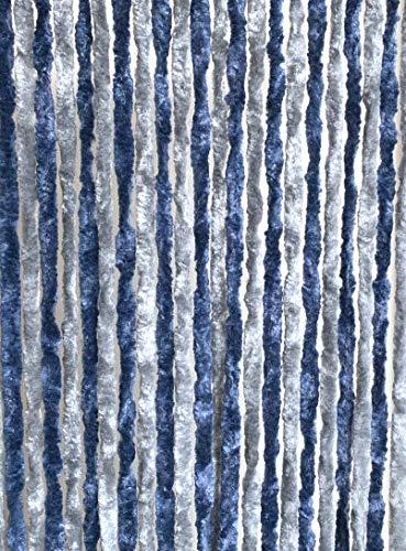 Moritz Flauschvorhang aus Chenille 56 x 185 cm blau grau Türvorhang als Fliegenschutz Insektenschutz für Camping...