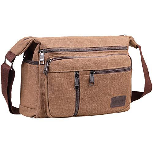 BOMKEE Wasserdicht Canvas Crossbody Tasche Umhängetasche Satchel Schulter Sling Arbeitstasche Bookbag für Männer und Frauen (2026 Kaffee)