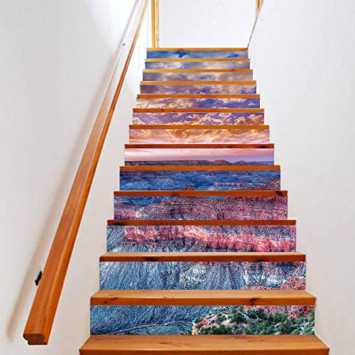 Pegatinas de escalera Cielo, flor, mar 3D Pegatinas de escalera para decoración del hogar, Mural de escaleras impermeables,Papel pintado de pegatinas de escalera