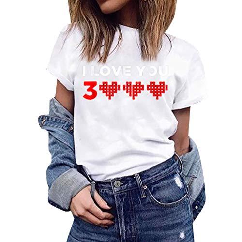 Mode Damen Shirt Herz Druck Loves You 3000 Tees T-Shirt Kurzarm Einfache Top Casual Oansatz Bluse Weiß 3XL