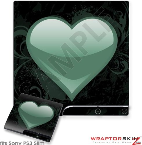 Sony PS3 Slim Skin - Glass Heart Grunge Seafoam Green
