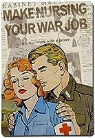 愛はあなたの戦争の仕事を看護する、ブリキのサインヴィンテージ面白い生き物鉄の絵画金属板ノベルティ