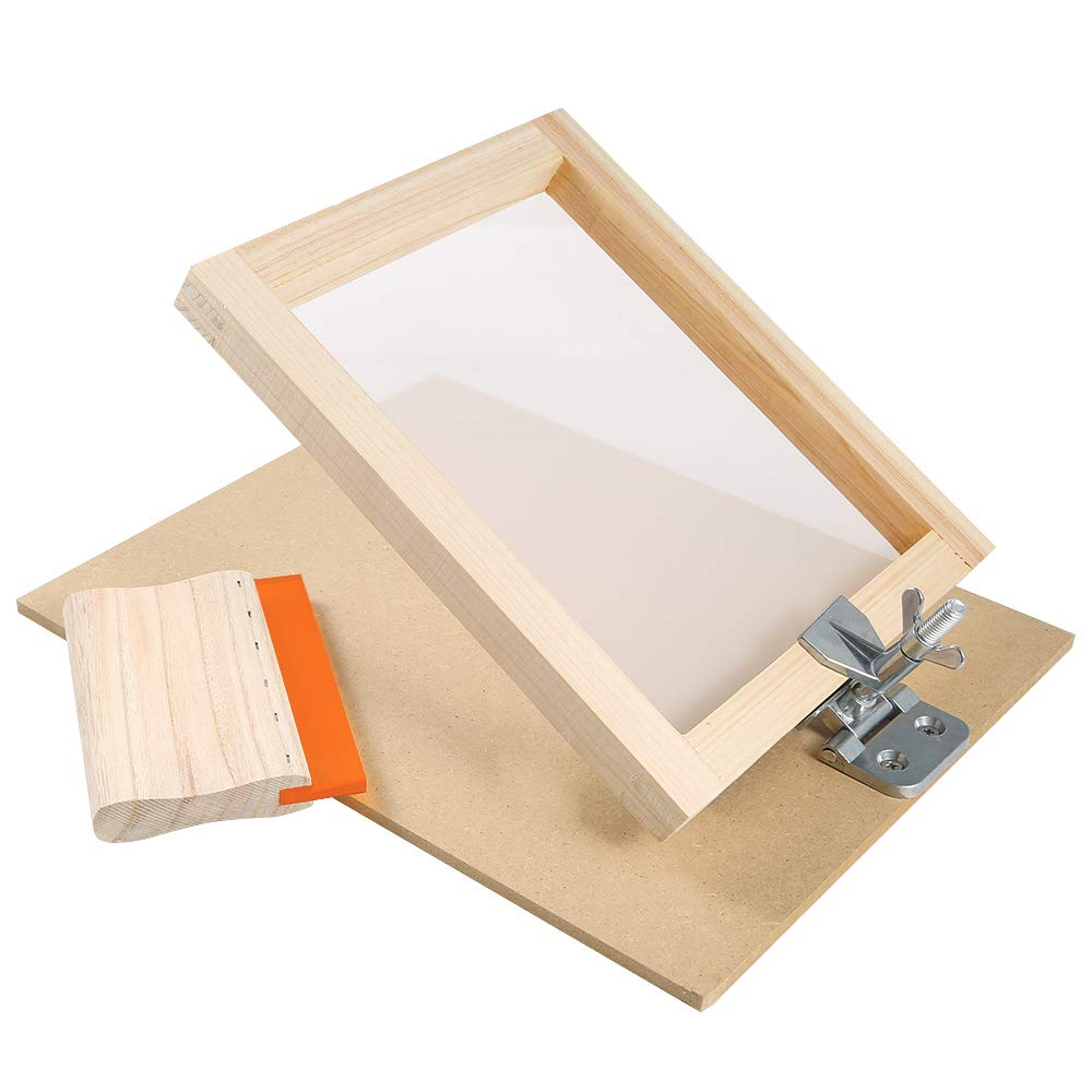 Caydo 27 Pieces Screen Printing Starter kit Include 8 x 10 Inch Silk Screen Printing Frame with 110 White Mesh, Screen Frame Butterfly Hinge Clamp and Tools for Screen Printing