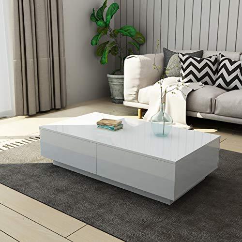 UNDRANDED Moderner Couchtisch Hochglanz mit 4 Schubladen Sofatisch Beistelltisch für Wohnzimmer 95 x 60 x 31cm (Weiß)