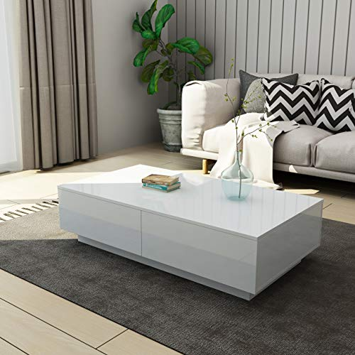 UNDRANDED Modern Rectangle Coffee Tea Table High Gloss Coffee Table with 4 Storage Drawers for Living Room Home Office Furniture 95 x 60 x 31cm (White)