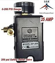 25 AMP Air Compressor Pressure Switch 4 Port 145-175 PSI w/ Back Mount 0-200 PSI Gauge 200 PSI pop off valve