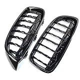 ZhengELE Frente Parrilla del Coche Negro Diamante Parrilla for BMW Serie 4 F32 F33 F36 2PCS / Set de plástico ABS Negro Brillante