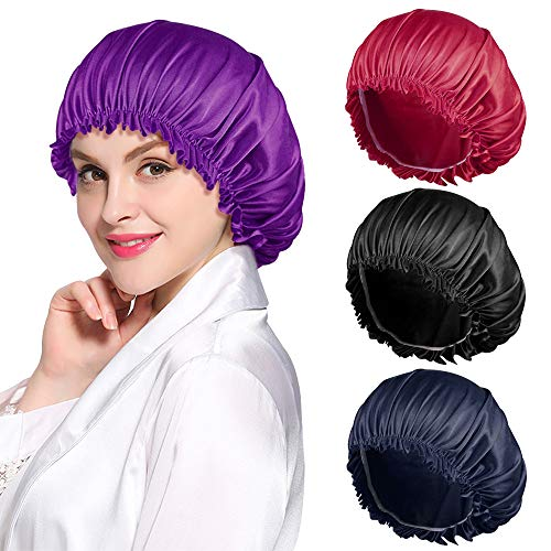 ROYBENS 4PCS Satin Bonnet for Women Natural Curly Hair,D