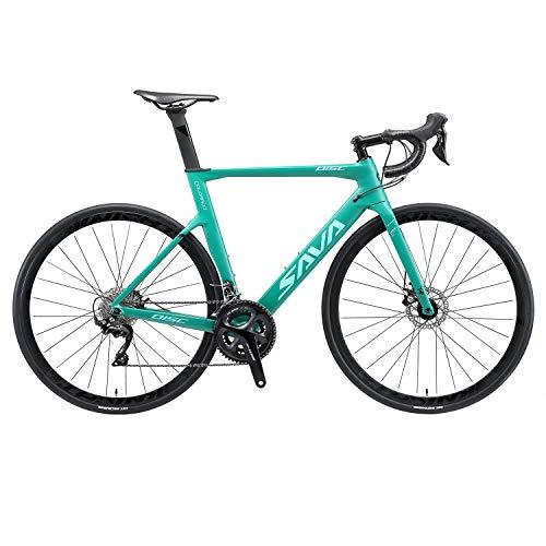 SAVADECK Bicicleta de Carretera Fibra de Carbono con Freno de Disco 700C con Juego de Ruedas de Carbono Shimano 105 R7020 22 gearset