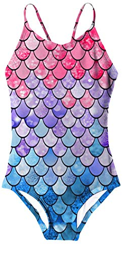 Funnycokid Toddler Little Girls Fish Scale Swimsuit One Piece UPF 50 Summer Bathing Suit 34T