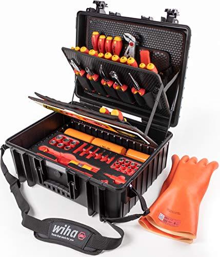 Wiha Werkzeugkoffer Set XL eMobility für Hybrid-und Elektrofahrzeuge (44198),77 teilig