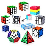 Vdealen Speed Cube Set, 12 Pack Puzzle Cube Bundle 2x2 3x3 4x4 Pyramid Megaminx Skewb Mirror Snake Ivy Infinity Sandwich Fidget Spinner Magic Cube, Smooth Cube Game Toys Gift for Kids & Adults